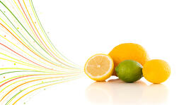 Healthy tropical fruits with colorful abstract lines on white background