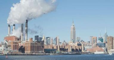 Factory along Hudson River in New York City