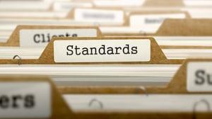 Standards Concept. Word on Folder Register of Card Index. Selective Focus.