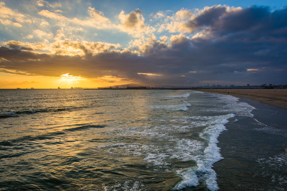 Sunset over the Pacific Ocean, in Seal Beach, California.